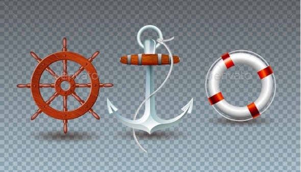Vector Illustration with Steering Wheel, Anchor - Objects Vectors