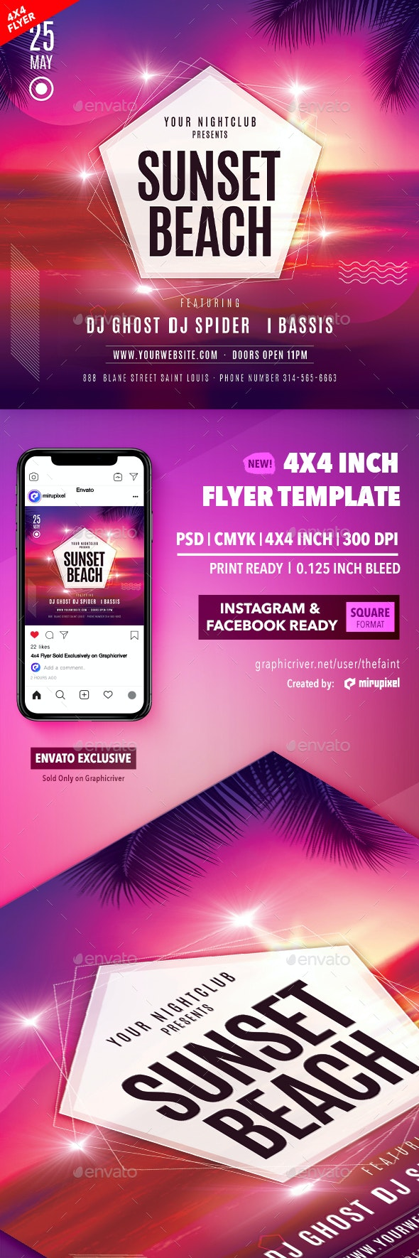 Sunset Beach 4x4 Inch Flyer Template - Clubs & Parties Events