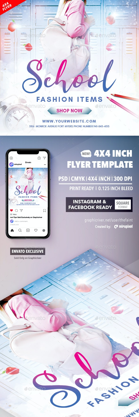 School Fashion 4x4 Inch Flyer Template - Commerce Flyers