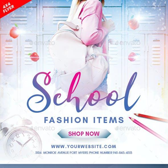 School Fashion 4x4 Inch Flyer Template
