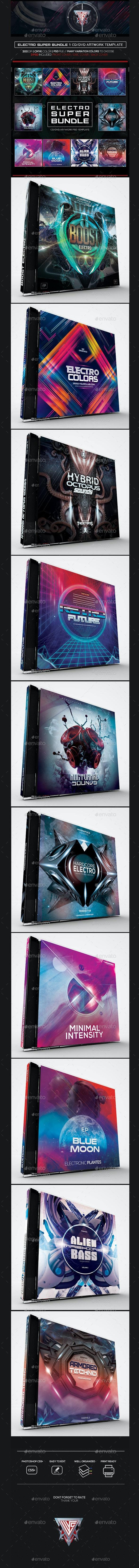 Electro Super Bundle Album Artworks CD/DVD Template Vol. 1 - CD & DVD Artwork Print Templates