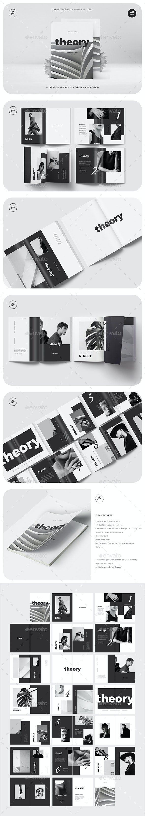 Theory BW Photography Portfolio - Magazines Print Templates