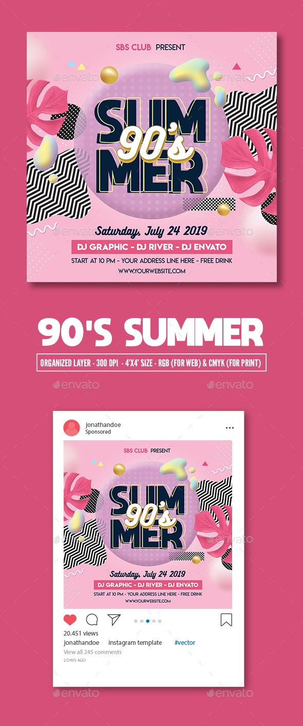 90s Summer Party Flyer Template - Clubs & Parties Events