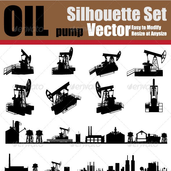 Vector Oil Pump Silhouette Set