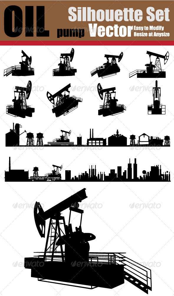 Vector Oil Pump Silhouette Set - Industries Business