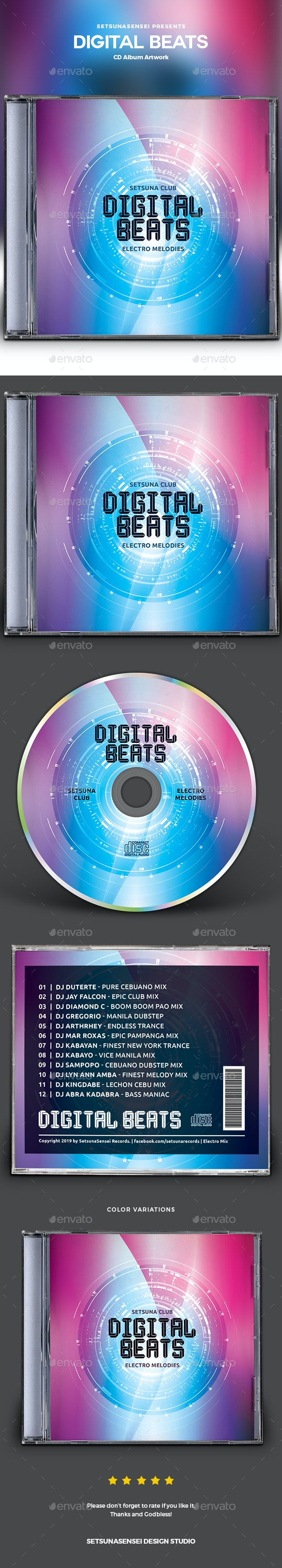 Digital Beats CD Album Artwork - CD & DVD Artwork Print Templates
