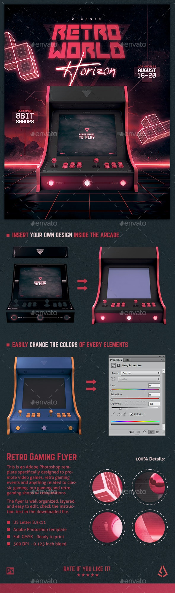 Video Games Flyer 80s Retro Gaming Arcade Mock Up Poster