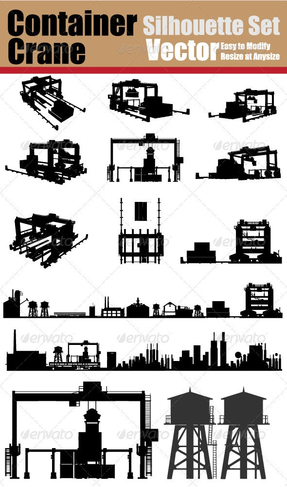 Container Crane Silhouette Set - Industries Business