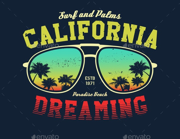 California Surfer Tee Graphic - Landscapes Nature