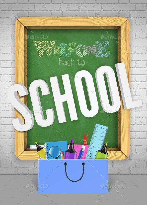 Back to School Green Blackboard Colorful Banner - Miscellaneous Vectors