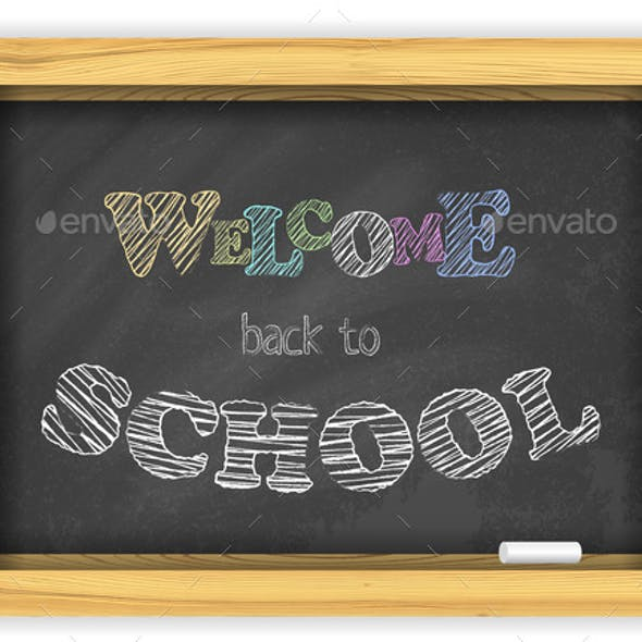 Blackboard with Chalk and Bright Color Letters