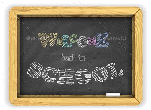 Blackboard with Chalk and Bright Color Letters - Miscellaneous Vectors