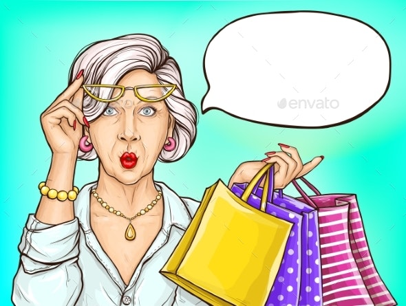 Pop Art Surprised Old Woman with Shopping Bags - People Characters