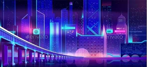 Future City at Night Cartoon Vector Background - Buildings Objects