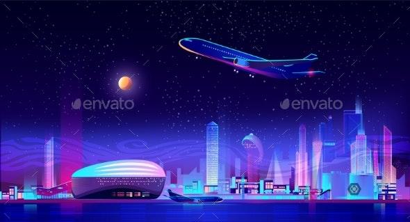 Metropolis Airport Cartoon Vector Background - Travel Conceptual