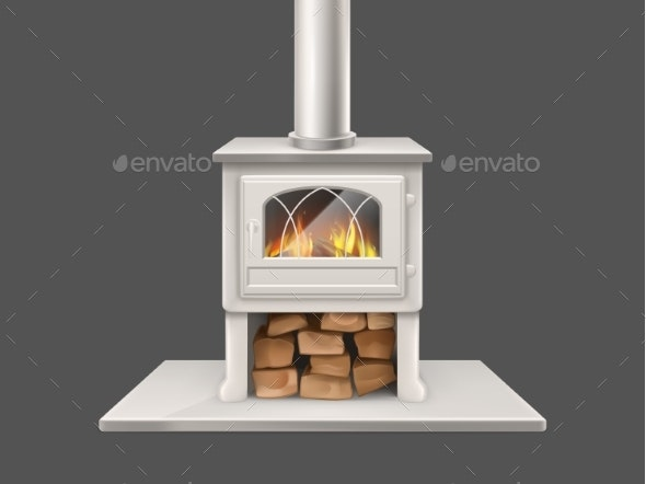 House Fireplace with Burning Firewood Vector - Man-made Objects Objects