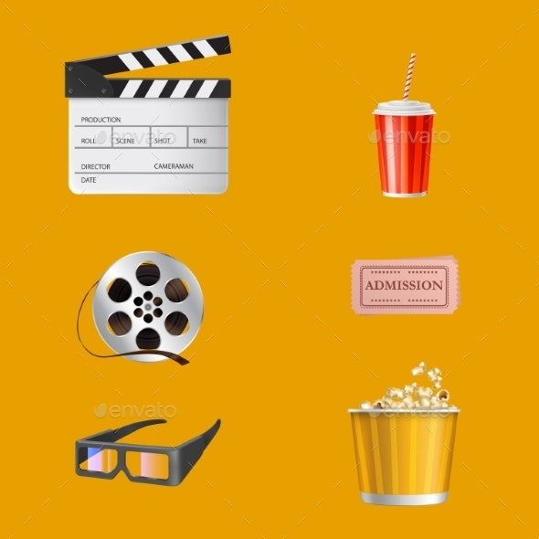 Movie Theater Objects Realistic Vector Set - Food Objects