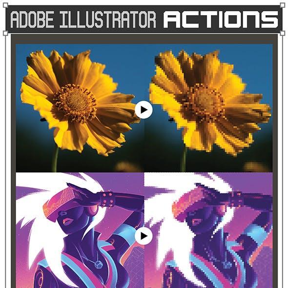 Vector Pixel Art Actions