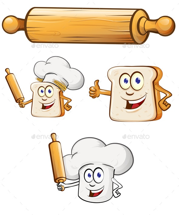 Bread Chef  With Rolling Pin and Food Element Cartoon - Food Objects