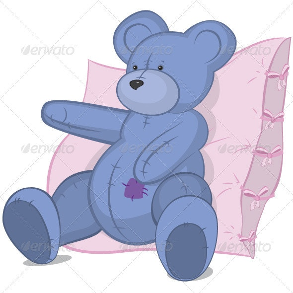 Blue Teddy bear on pink pillow - Man-made Objects Objects