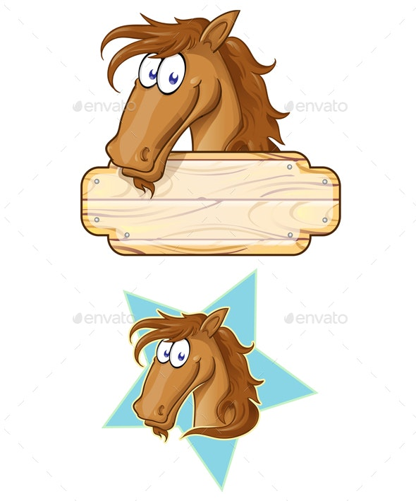 2 Happy Cartoon Horse Mascots With A Blank Sign - Animals Characters