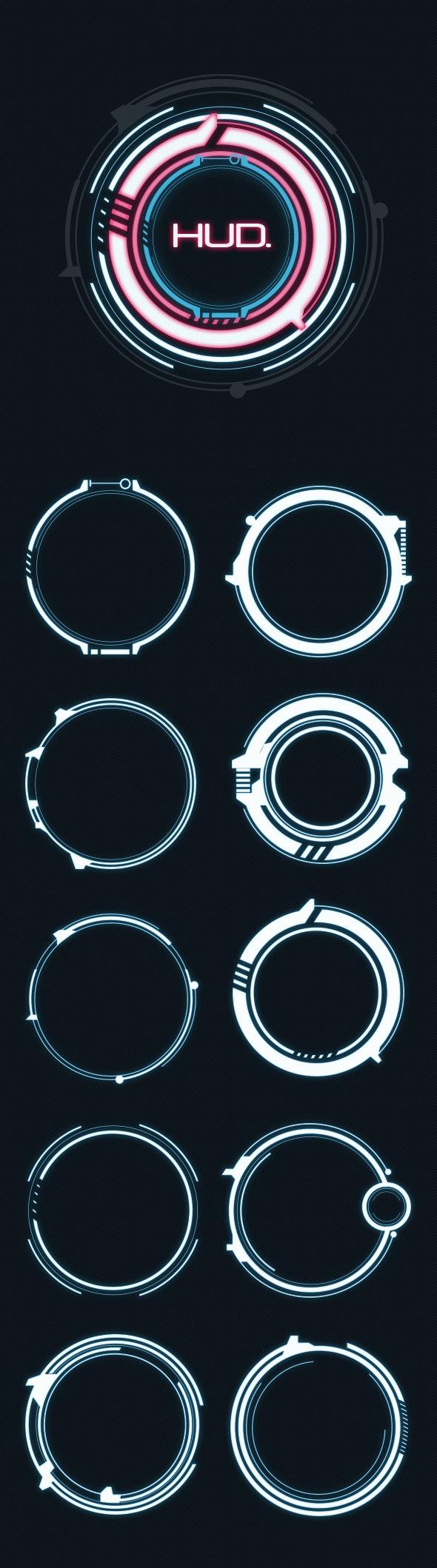 Hi-Tech Circles Custom Shapes - Shapes Photoshop