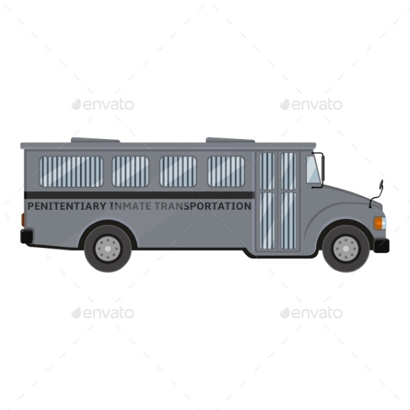 Gray Prison Bus - Man-made Objects Objects
