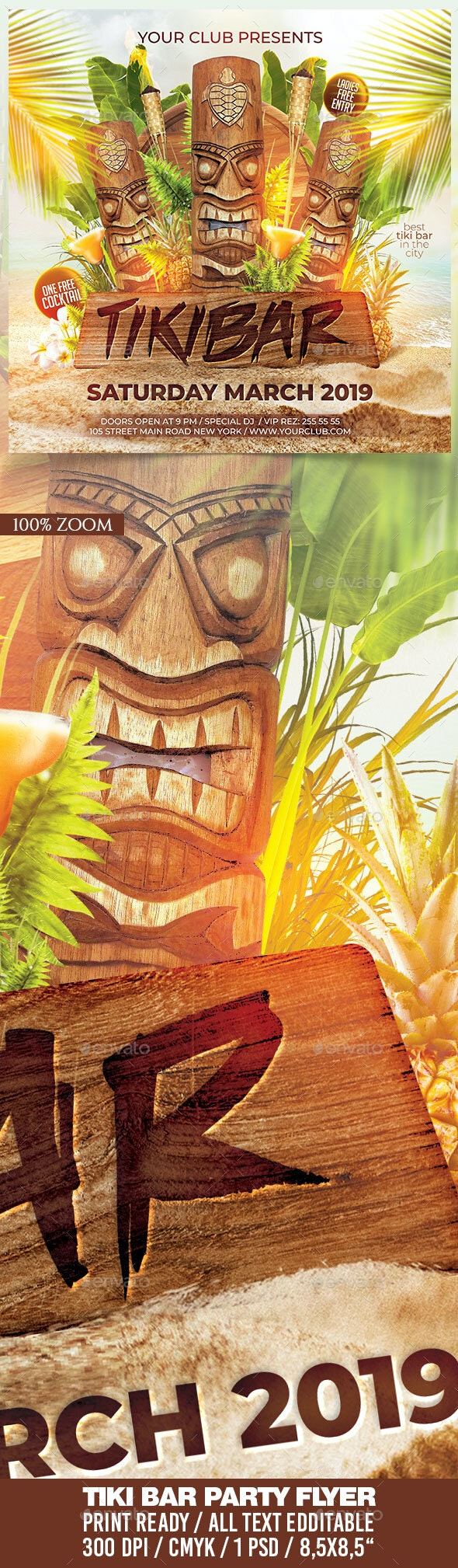 Tiki Bar Flyer - Clubs & Parties Events