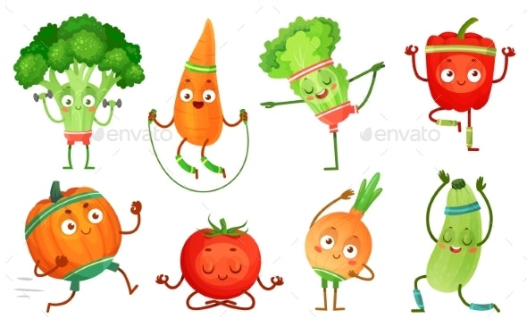 Cartoon Vegetables Fitness. Vegetable Characters - Food Objects