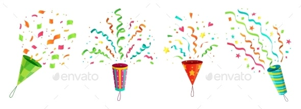 Party Confetti Popper. Exploding Birthday - Seasons/Holidays Conceptual