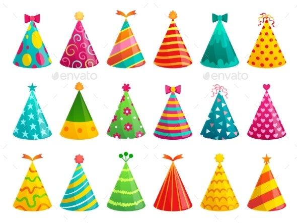 Cartoon Birthday Party Caps. - Seasons/Holidays Conceptual