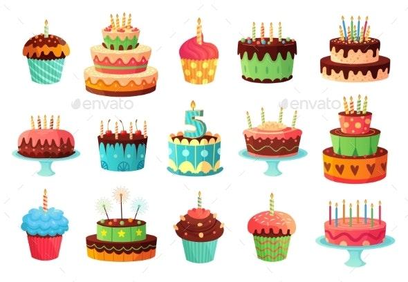 Cartoon Birthday Party Cakes. Sweet Baked Cake - Food Objects