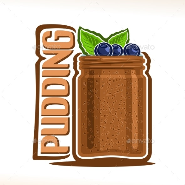 Vector Logo for Pudding - Food Objects