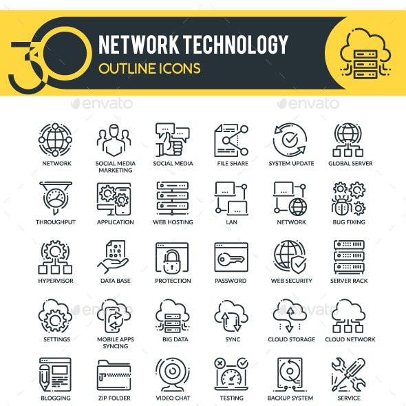 Network Outline Icons