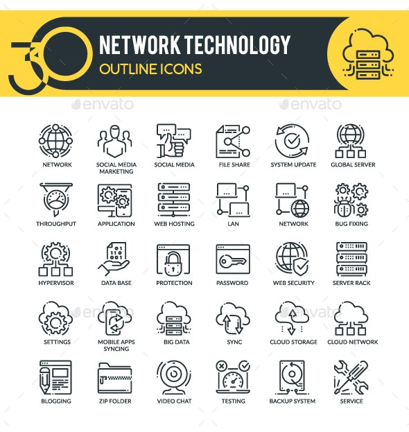 Network Outline Icons - Technology Icons