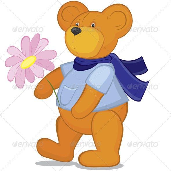 Teddy bear with flower in blue scarf