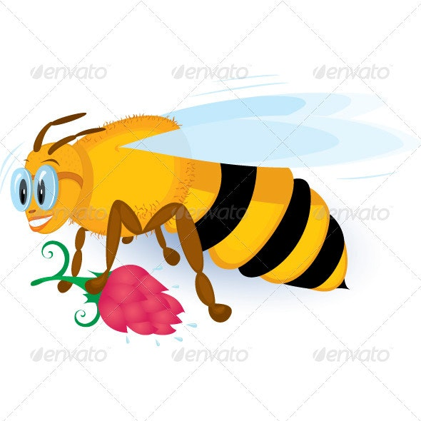 Bee with pink flower - Animals Characters