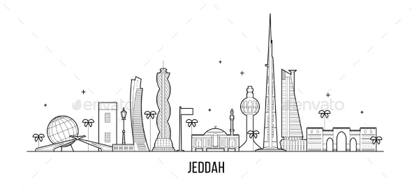Jeddah Skyline Saudi Arabia City Vector Linear Art - Buildings Objects