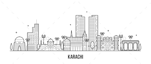 Karachi Skyline Pakistan City Vector Linear Art - Buildings Objects