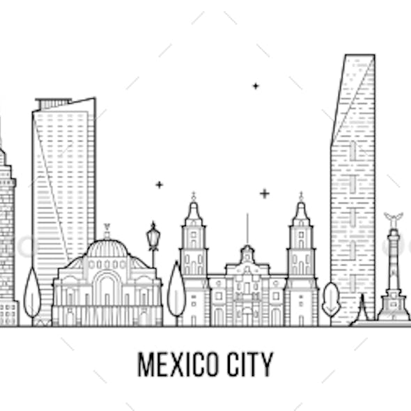 Mexico City Skyline Mexico Vector Linear Art