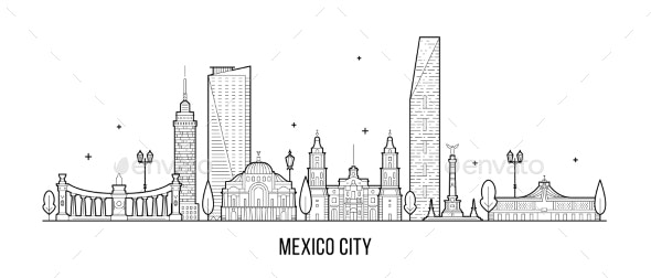 Mexico City Skyline Mexico Vector Linear Art - Buildings Objects