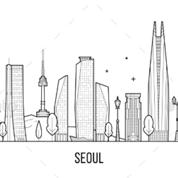 Seoul Skyline, South Korea Vector Linear Art