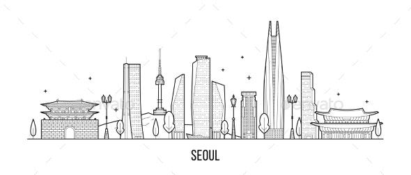 Seoul Skyline, South Korea Vector Linear Art - Buildings Objects