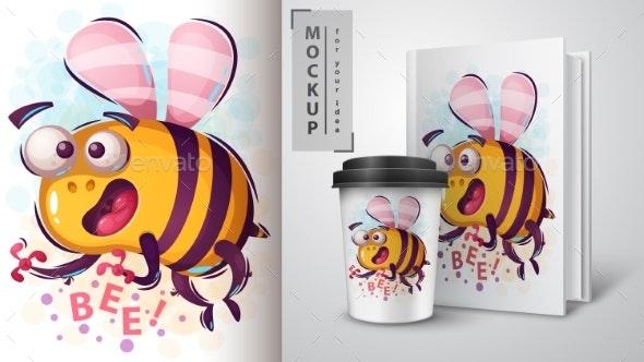 Horror Cartoon Bee - Mockup for Your Idea - Animals Characters