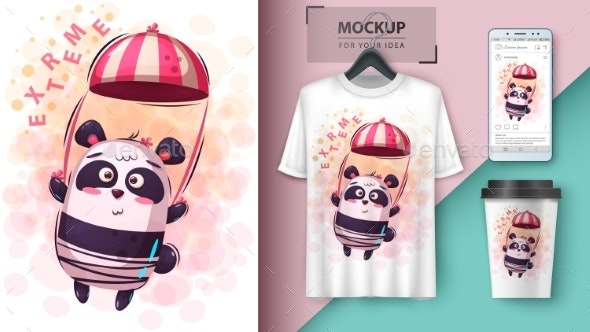 Parachute Panda - Mockup for Your Idea - Animals Characters