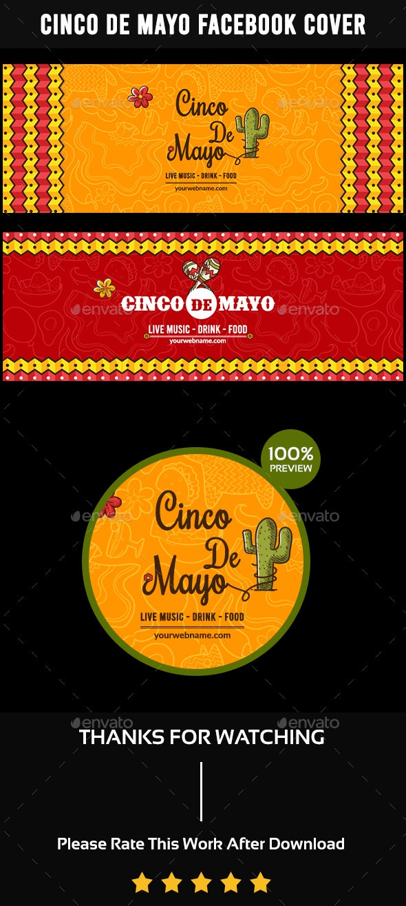 Cinco De Mayo Facebook Cover-2 Design- Image Included - Facebook Timeline Covers Social Media