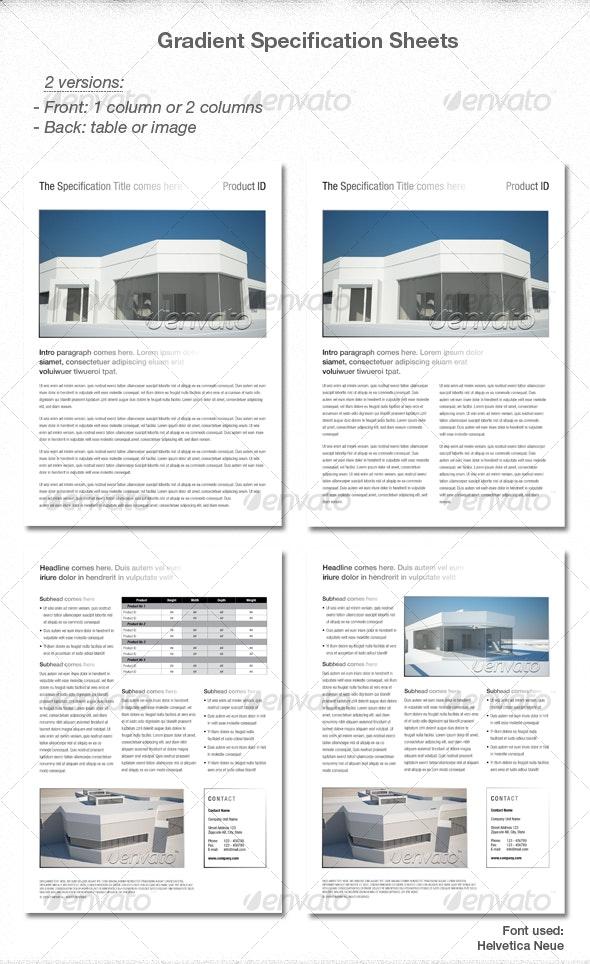 Elegant Gradient Spec sheets - Miscellaneous Print Templates