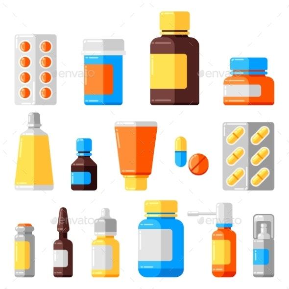 Set of Medicine Bottles and Pills - Health/Medicine Conceptual