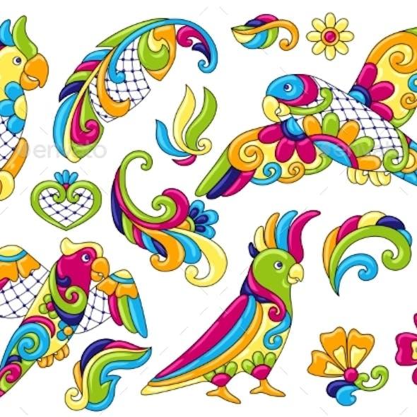 Set of Decorative Tropical Parrots