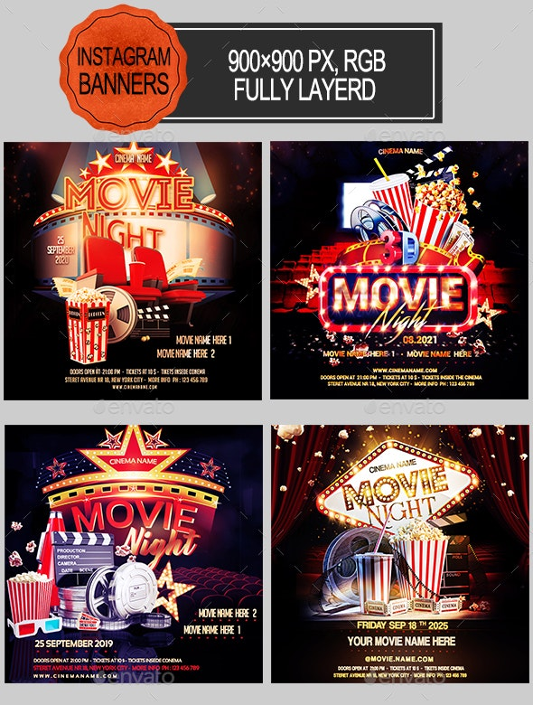 Movie Night Instagram Banners - Banners & Ads Web Elements